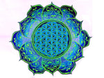 blue Flower of Life celtic mandala holy geometry patch sacred art