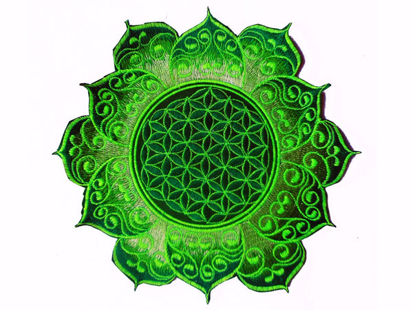 celtic Flower of Life green mandala holy geometry patch sacred art