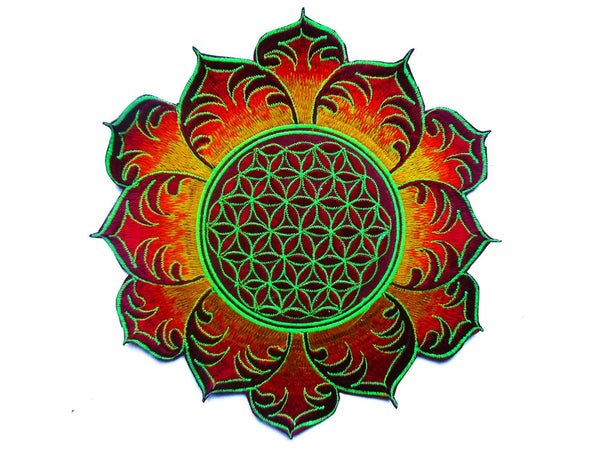Flower of Life red mandala holy geometry patch sacred art