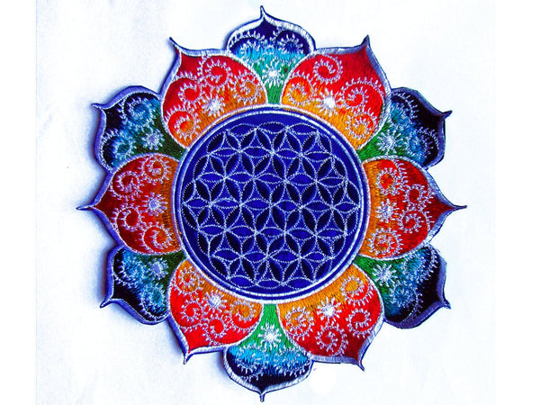 fractal Flower of Life rainbow mandala holy geometry patch sacred art