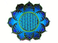 blue Flower of Life mandala holy geometry patch sacred art