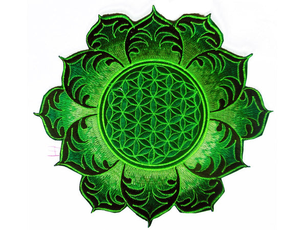 Flower of Life green mandala holy geometry patch sacred art