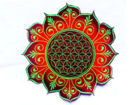Flower of Life red flower mandala holy geometry patch sacred art