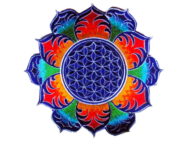 Flower of Life rainbow mandala holy geometry patch sacred art