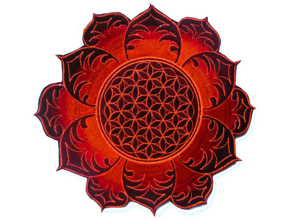 Flower of Life deepred mandala holy geometry psy patch sacred geometry