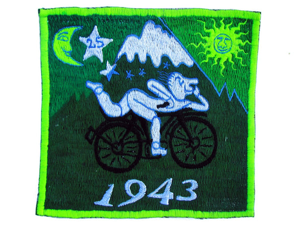 Green Bicycle Day LSD Cult Patch Albert Hofmann 1943 Burning Man Psychedelic Acid Trip Hippie Visionary Drug Cosmic Healing Medicine