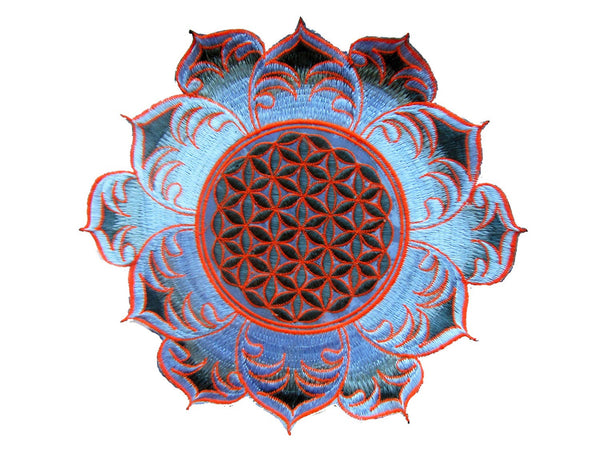 Flower of Life white mandala holy geometry psy patch sacred geometry