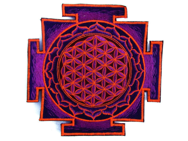 purple yantra Flower of Life holy geometry psy patch sacred geometry healing information