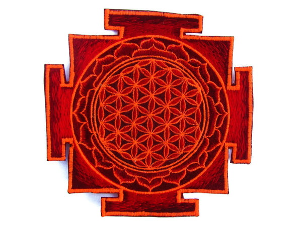 red yantra flower of life sacred geometry goa patch holy healing information blacklight active
