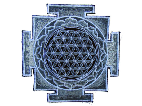 silver yantra flower of life sacred geometry goa patch holy healing information