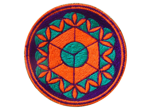 sacred geometry - patch - element earth flower of life blacklight hexaedon