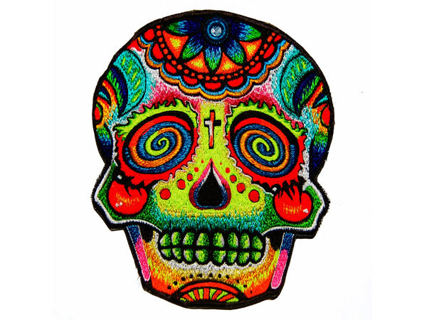 Mirror Skull patch Psychedelic blacklight psy patch LSD dead mexico