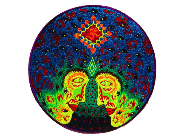 Cosmic AUM Love Psychedelic blacklight Patch magic mushroom