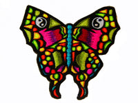ying yang butterfly patch medium size blacklight active goa hippie