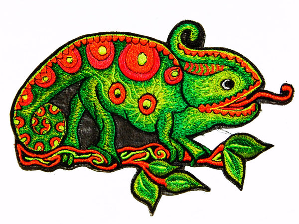 Psychedelic chameleon big size patch blacklight active colourful embroidery art