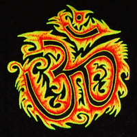 AUM fire T-Shirt blacklight handmade embroidery no print OM yantra goa t-shirt