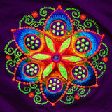 purple crop circle T-Shirt fractal flower of life blacklight handmade embroidery no print goa t-shirt