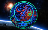 Grateful Dead blacklight Patch psy patch LSD psychedelic skull