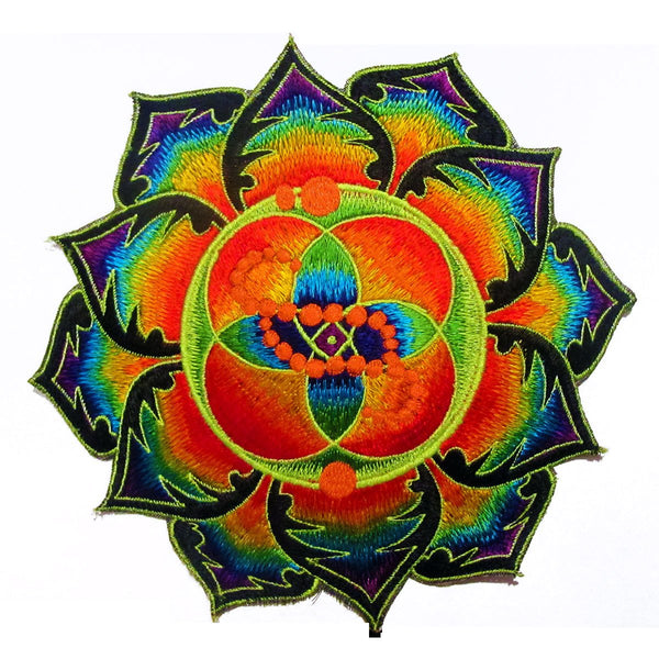 DNA healing crop circle patch flower of life blacklight rainbow mandala