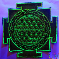 blue UV yantra flower of life sacred geometry goa patch holy healing information