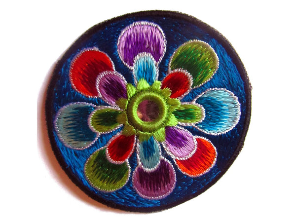 blue flower small patch with mirror 8cm beautiful flower power hippie art