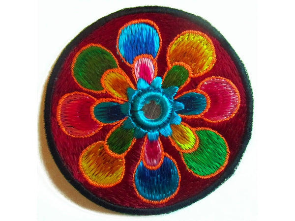 red flower small patch with mirror 8cm beautiful flower power hippie art