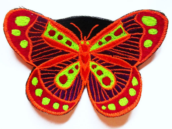 yellow dots butterfly patch small size rainbow goa trance blacklight