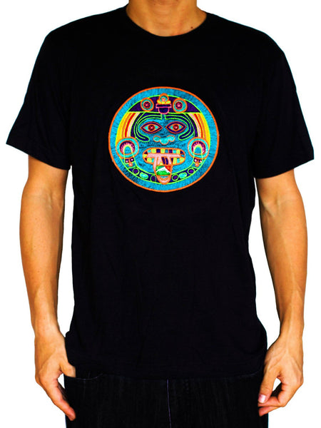 Maya Hofmann 2012 T-Shirt - ancient LSD calendar blacklight handmade embroidery no print goa t-shirt