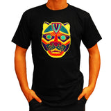 Jaguar Mask T-Shirt blacklight handmade embroidery no print goa t-shirt
