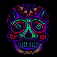 Spiral skull T-Shirt with mirror blacklight handmade embroidery no print goa psy t-shirt