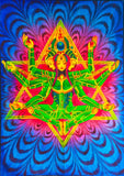 Merkhabha Goddess UV Painting - handmade on order blacklight active psychedelic flower of life multiple sizes