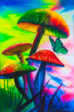 Magic Mushrooms UV Painting - handmade on order blacklight active psychedelic india multiple sizes