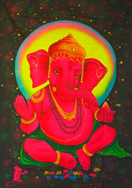 Ganesha UV Painting - handmade on order blacklight active psychedelic multiple sizes