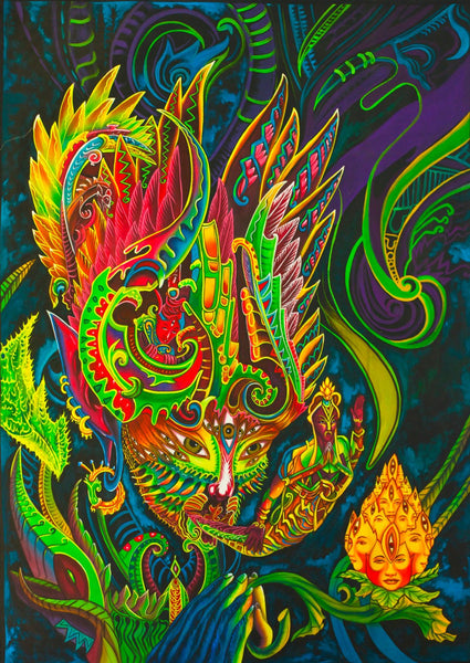 Yage Spirit UV Painting - handmade on order blacklight active psychedelic dmt ayahuasca multiple sizes