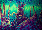 Mushroom Forest UV Painting - handmade on order blacklight active psychedelic india multiple sizes