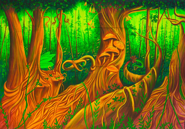 Psilocybin Jungle UV Painting - handmade on order blacklight active psychedelic india multiple sizes