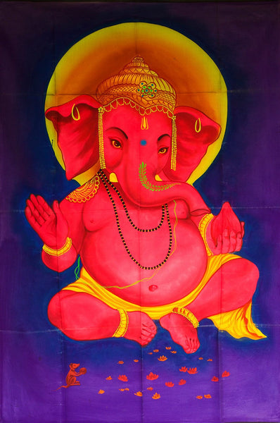 Purple Ganesha UV Painting - handmade on order blacklight active psychedelic multiple sizes