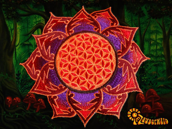 Flower of Life purple red holy geometry patch sacred art drunvalo melchizedek yantra