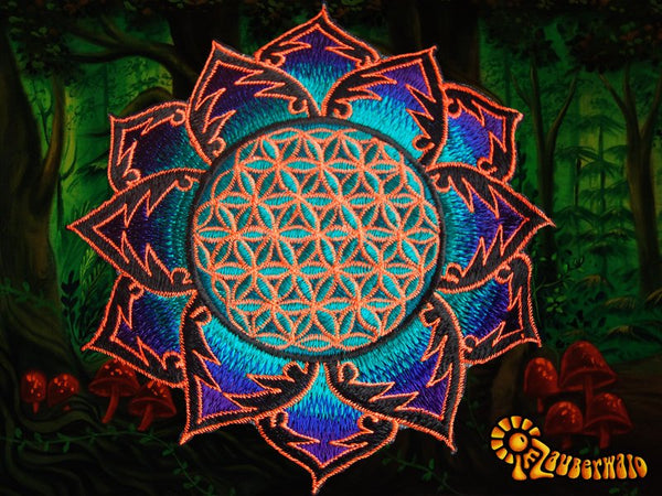Flower of Life blue orange holy geometry patch sacred art drunvalo melchizedek yantra