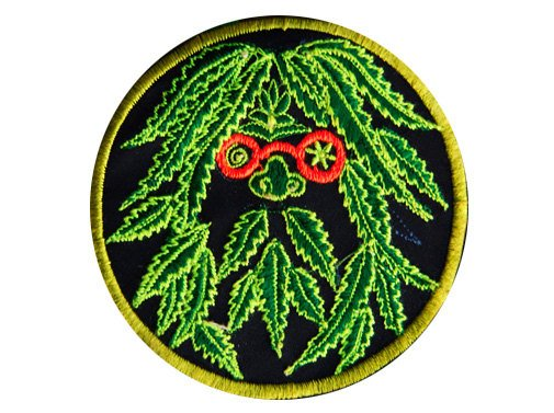 ganja man patch small size weed hemp face