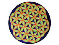blue yellow orange flower of life patch small size holy geometry healing sacred