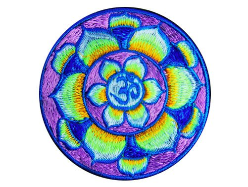lila aum patch small size cosmic music goa india mandala