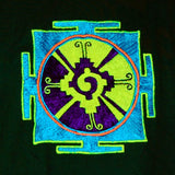 Hunab Ku T-Shirt - ancient maya symbol for center of the galaxy blacklight handmade embroidery no print