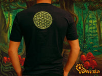 Alien Message crop circle T-Shirt flower of life blacklight handmade embroidery no print goa t-shirt