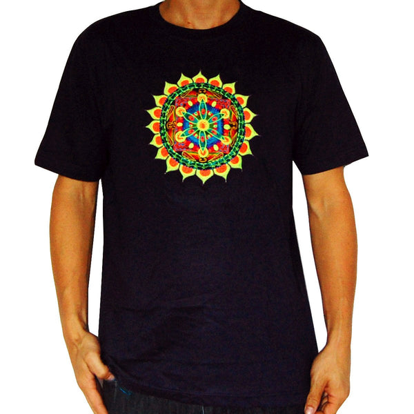 windmill mandala crop circle T-Shirt fractal flower of life blacklight handmade embroidery no print goa t-shirt
