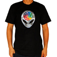 Alien Attributes crop circle T-Shirt blacklight handmade embroidery no print goa t-shirt