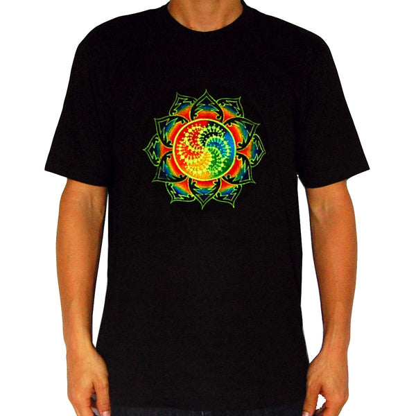 Milk Hill crop circle T-Shirt rainbow mandala blacklight handmade embroidery no print goa t-shirt