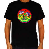 Magic Mushroom Planet T-Shirt blacklight handmade embroidery no print goa t-shirt