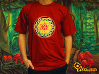 Rainbow Flower of Life T-Shirt - sacred healing geometry flower of life handmade embroidery no print