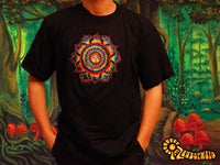 Rainbow Eyes of Buddha Sun T-Shirt - sacred healing geometry crop circle handmade embroidery no print